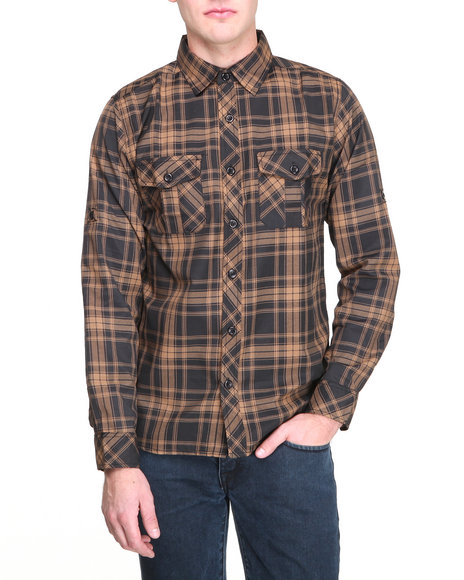 Buyers Picks - Men Brown Double Front Pocket L/S Button Down Shirt