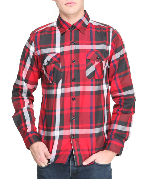 Buyers Picks - Men Red Winter Plaid L/S Button Down Shirt