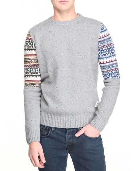 Bellfield - Men Grey Block Fairisle Sleeve Sweater