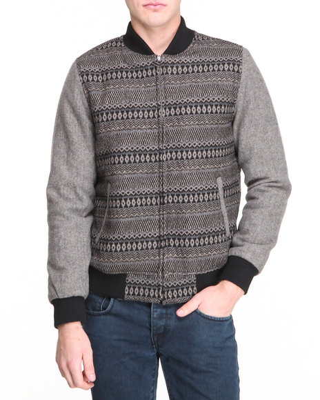 Bellfield - Men Grey Patterned Wool Bomber Jacket