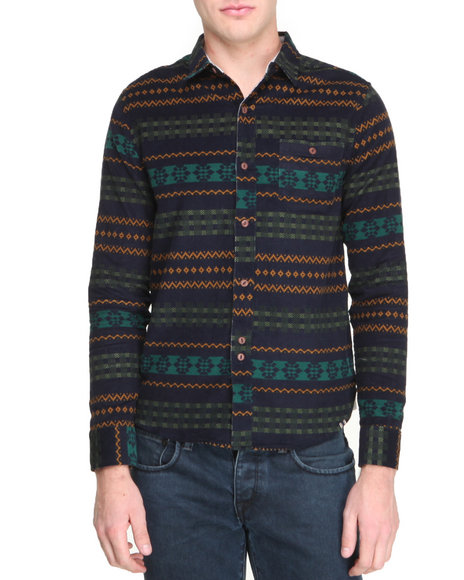 Bellfield Green Printed Corduroy Button-Down