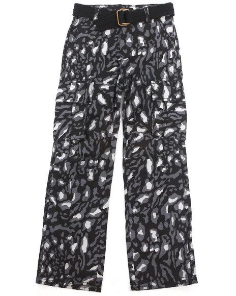 Akademiks - Boys Black Leopard Print Cargo Pants (8-20)