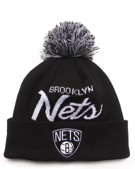 Mitchell & Ness Men Brooklyn Nets Nba Script Cuffed Knit Hat Black - $25.00