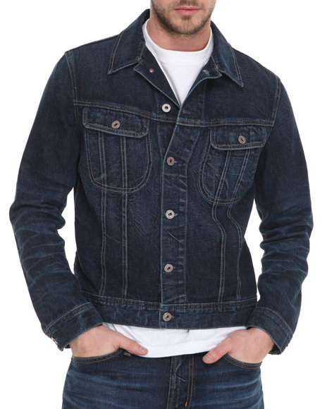 Djp Outlet - Men Dark Wash Ag Adriano Goldschmied 7 Yr Original Jameson Fitted Jacket