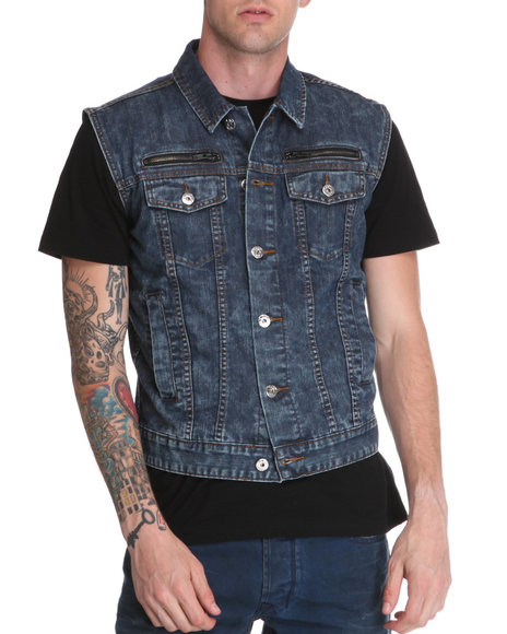 Djp Outlet - Men Medium Wash Black Apple Sleeveless Denim Vest W/ Back Panel Patch Detail