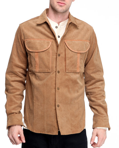 Djp Outlet - Men Khaki L/S Cord Shirt