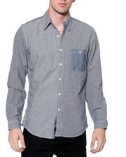 Shirts - Mixed Media Pinstripe Chambray Shirt