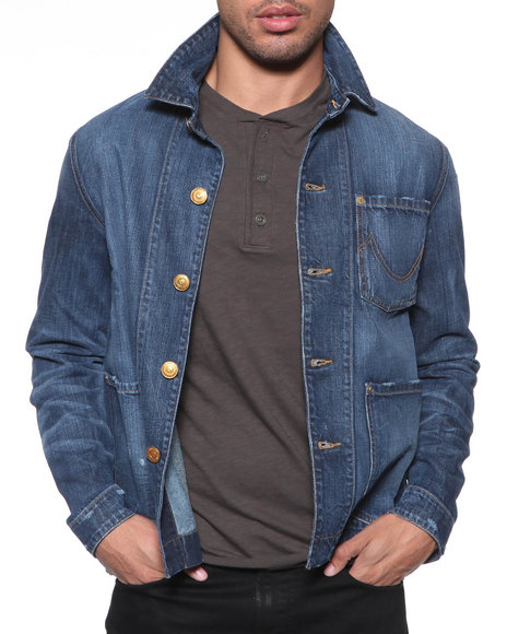 Djp Outlet - Men Medium Wash True Religion Dino Jacket In Detonation
