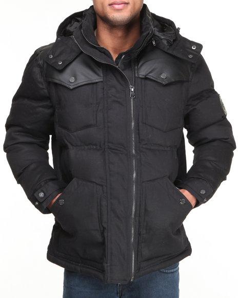COOGI Black Puffer Twill Jacket W/ Pu Detailing
