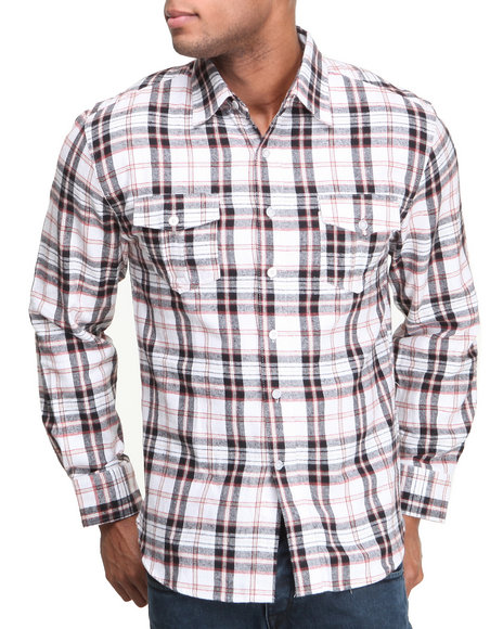 Buyers Picks - Men Red Heavyweight Flannel Plaid L/S Button Down Shirt