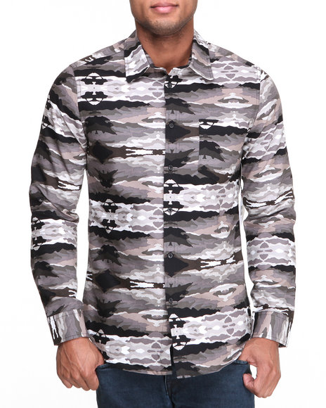Black,Camo Button-Downs