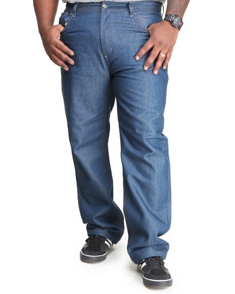 MO7 Medium Wash Medium Indigo Contrast Stitch Straight Fit Denim Jeans (Big & Tall)