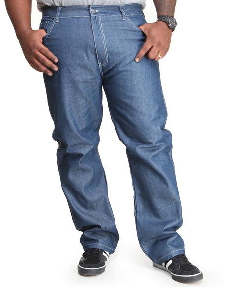 MO7 Medium Wash Mo7 Contrast Stitch Straight Fit Raw Denim Jeans