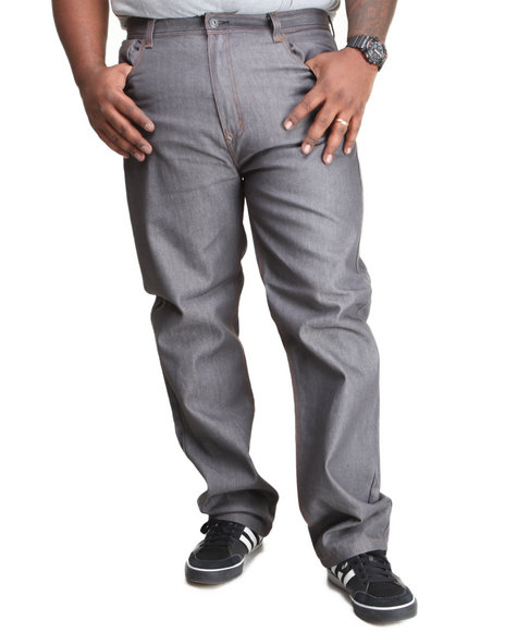 Mo7 - Men Grey Mo7 Contrast Stitch Straight Fit Raw Denim Jeans