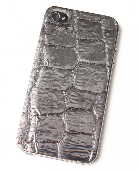 Djp Outlet - Women Grey Pewter Premium Leather Iphone Sticker - $6.99