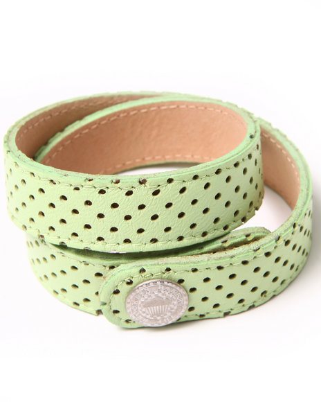 Djp Outlet Women Neon Perforated Leather Strap Green - $20.00