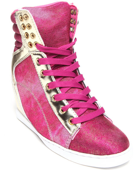 Apple Bottoms - Women Pink Myrtle Gold Trim Wedge Sneaker - $23.99