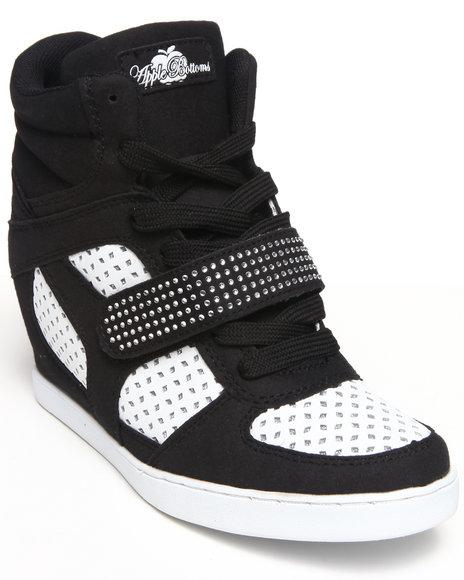 Apple Bottoms Black,White Brayden Perforated Wedge Sneaker
