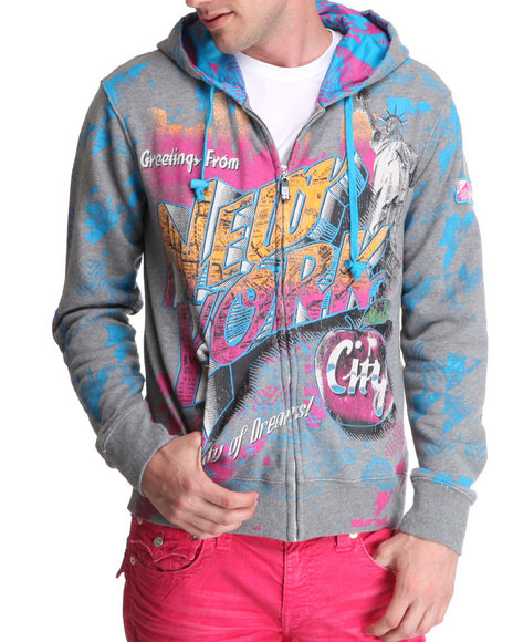 Djp Outlet - Men Grey Lord Baltimore Big Apple Multi Print/Embroidery/Patch Zip Up Hoodie