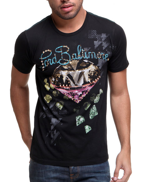 Djp Outlet - Men Black Lord Baltimore Embellished Bling Tee W/ Foil Detail