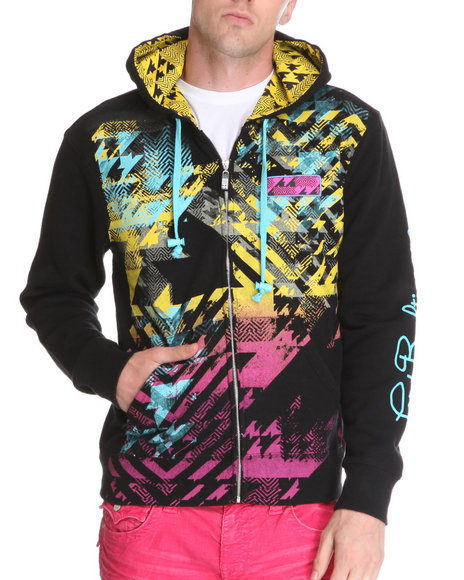Djp Outlet - Men Black Lord Baltimore Pop Art Multi Print/Embroidery/ Patch Zip Up Hoodie
