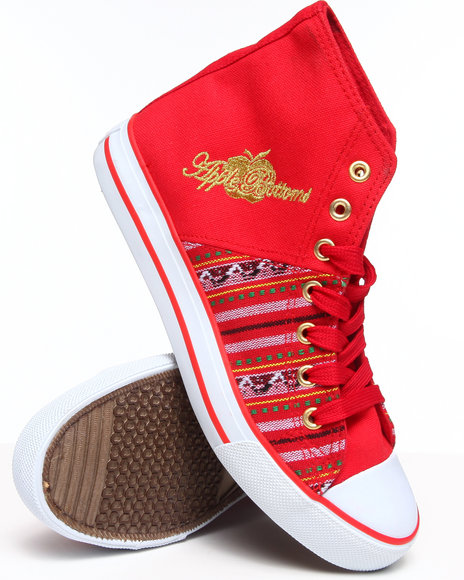 Apple Bottoms - Women Red Kivo Aztec Trim Canvas Sneaker - $15.99