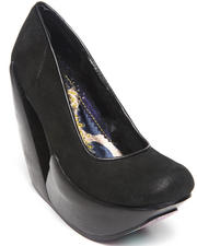 Wedges - Irregular Choice Quantum Wood Wedge Shoe w/ Faux Fur Lining