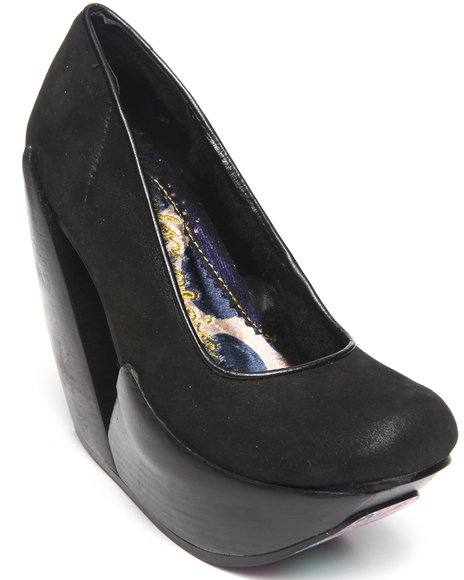 DJP OUTLET - Irregular Choice Quantum Wood Wedge Shoe w/ Faux Fur Lining