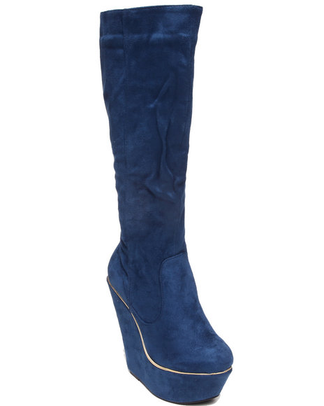 Fashion Lab - Women Blue Numeria Wedge Boot W/Faux Suede