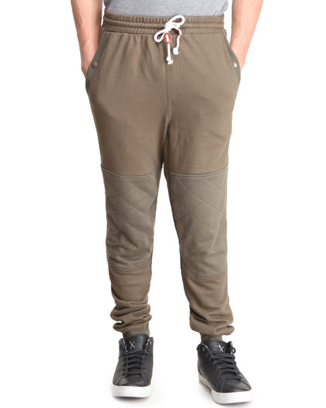 Under Two Flags - Men Olive Pieced French Terry Premium Tapered Premium Sweatpants