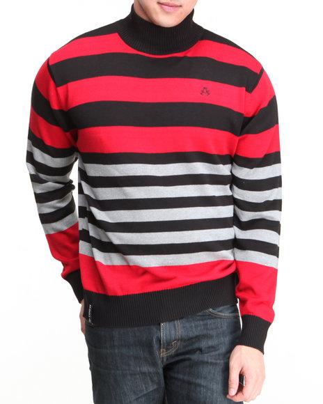 Akademiks - Men Red Mock Neck Stripe Sweater