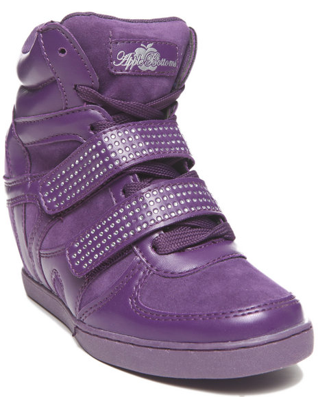 Apple Bottoms - Women Purple Gavin Bling Strap Wedge Sneaker - $24.99
