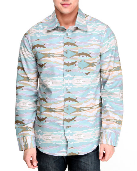 Altamont - Men Camo,Green Paint By Camo L/S Button-Down