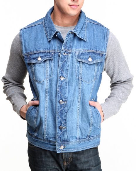 Buyers Picks - Men Medium Wash Levels Denim Vest - $21.99