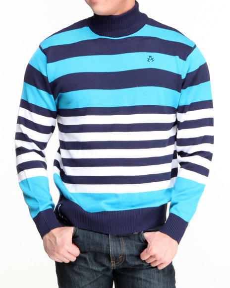 Akademiks Blue Mock Neck Stripe Sweater