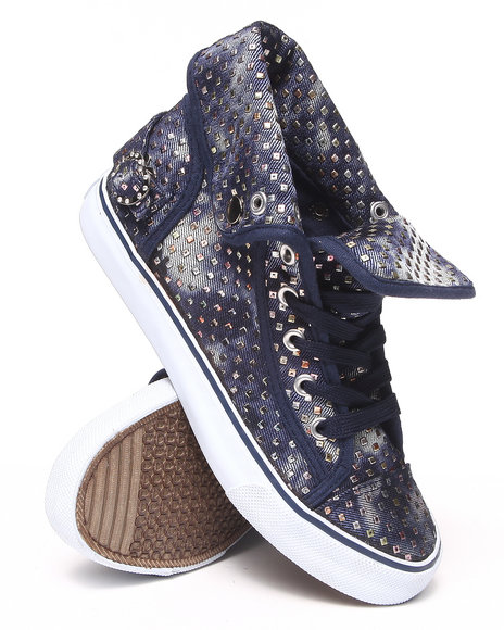 Apple Bottoms - Women Navy Rita Acid Wash Studded Canvas Sneaker - $14.99