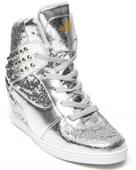 Apple Bottoms - Kaden Spikes Metallic Wedge Sneaker