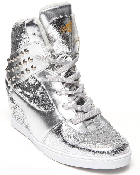 Apple Bottoms - Women Silver Kaden Spikes Metallic Wedge Sneaker