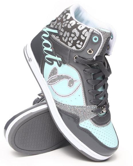 Baby Phat - Women Green,Charcoal Lana  Heel Logo Cheetah Trim Sneaker