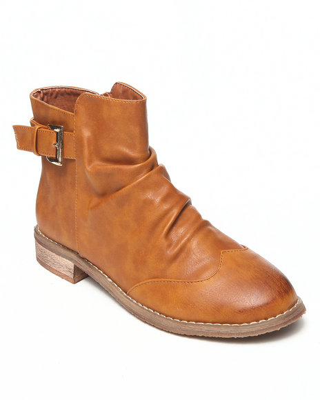 Fashion Lab - Women Tan Danna Bootie W/Wing Tip And Buckle