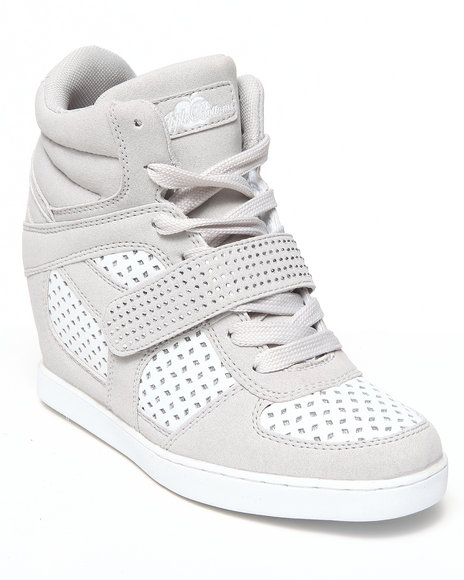 Apple Bottoms - Women Neutral Brayden Perforated Wedge Sneaker - $26.99