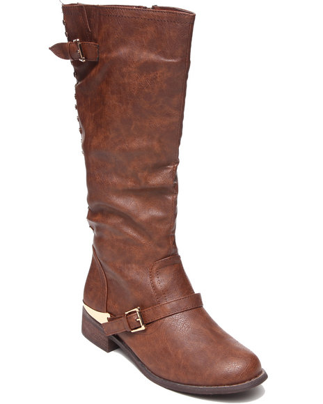 Fashion Lab - Women Brown Pace Boot W/Stud Detail On Back