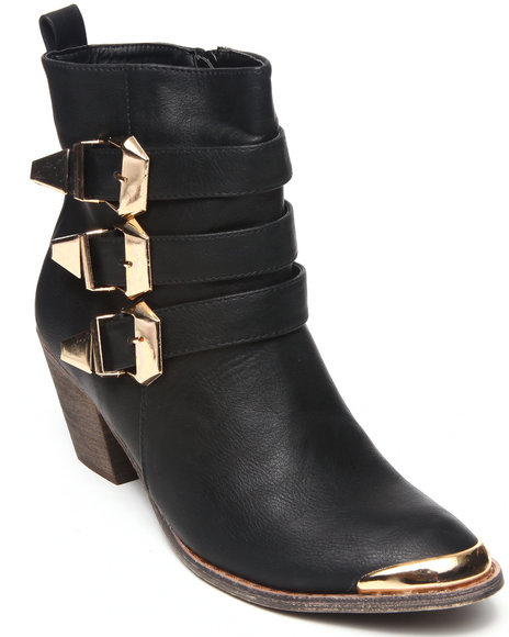 Fashion Lab - Women Black Hutton Bootie W/Straps Buckle Detail