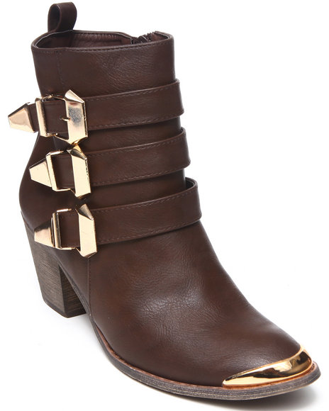 Fashion Lab - Women Brown Hutton Bootie W/Straps Buckle Detail