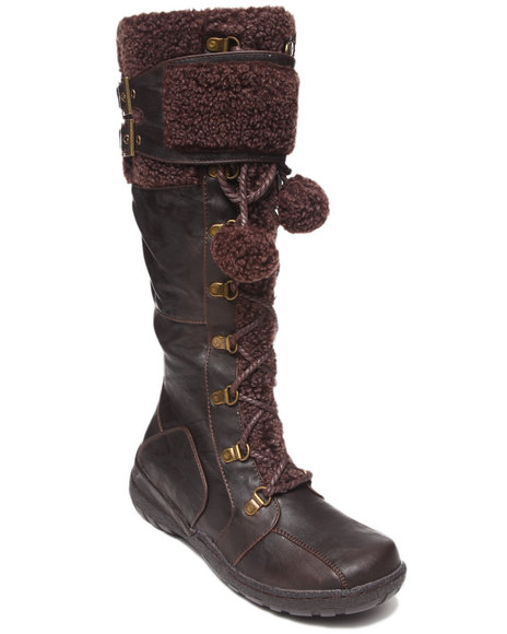 Fashion Lab - Women Brown Saniya Faux Fur Boot