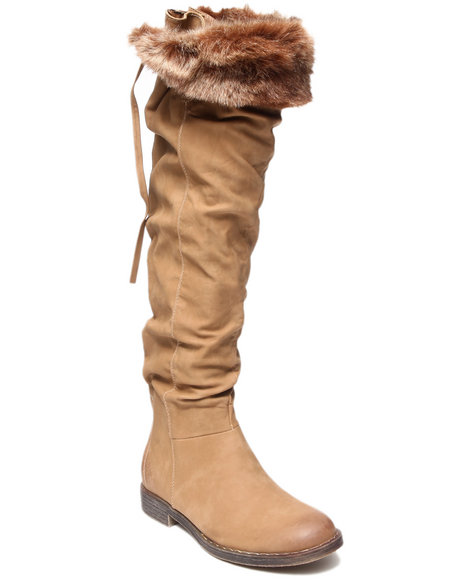 Fashion Lab - Women Tan Lettie Boot W/Straps