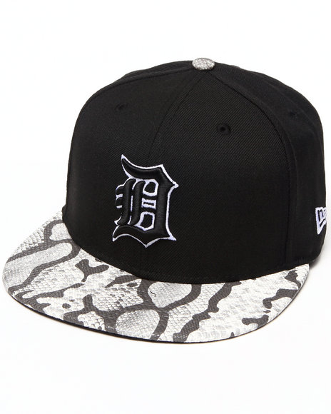 New Era Detroit Tigers Snake-Thru Strapback Hat Black Medium/Large