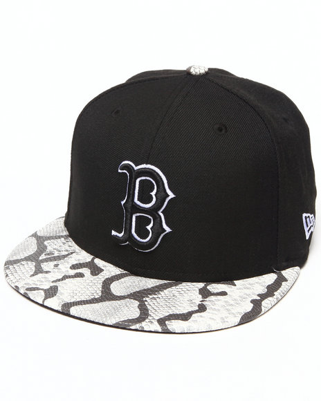 New Era Black Boston Red Sox Snake-Thru Strapback Hat