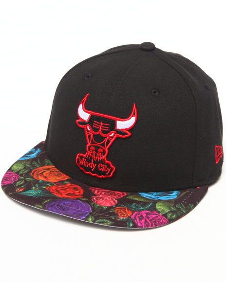 New Era - Men Black Chicago Bulls Real Floral 5950 Fitted Hat