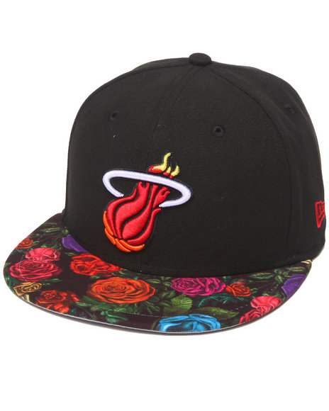 New Era - Men Black Miami Heat Real Floral 5950 Fitted Hat